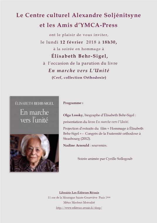 Hommage à Elisabeth Behr-Sigel